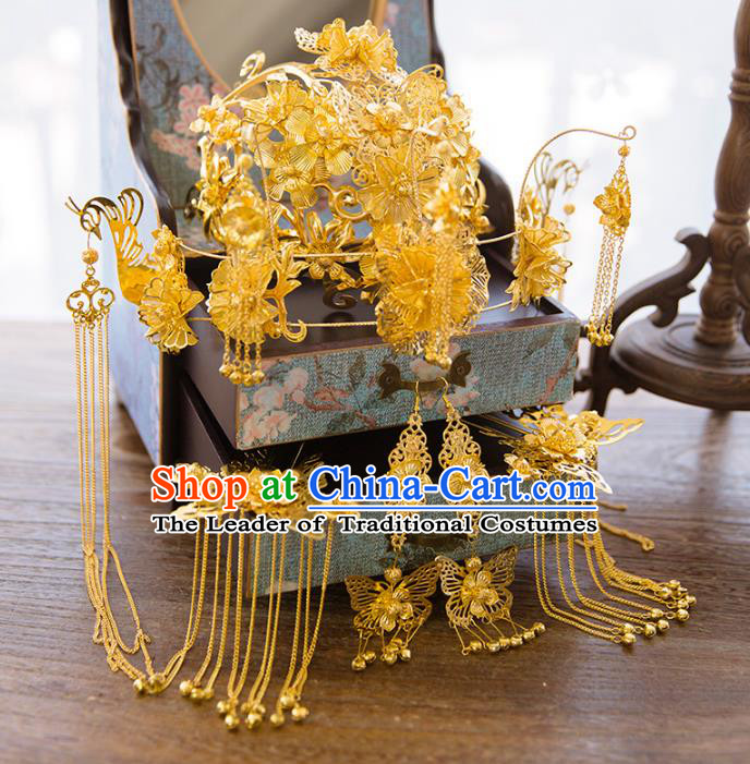 Aisan Chinese Handmade Classical Hair Accessories Bride Golden Phoenix Coronet Complete Set, China Xiuhe Suit Hairpins Wedding Headwear for Women