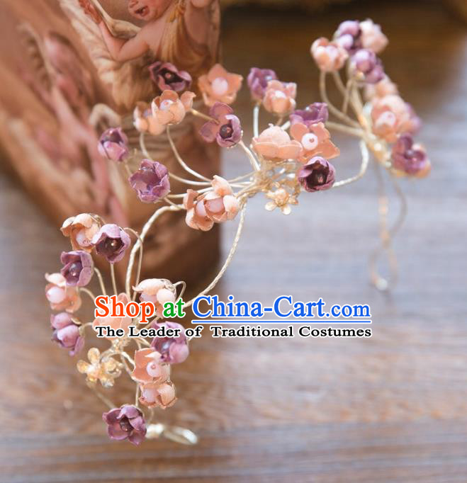 Top Grade Handmade Classical Hair Accessories Baroque Style Princess Purple Flowers Hair Clasp Headwear for Women