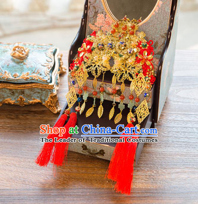 Aisan Chinese Handmade Classical Hair Accessories Hanfu Tassel Phoenix Coronet, China Xiuhe Suit Hairpins Wedding Hair Clasp Headwear for Women
