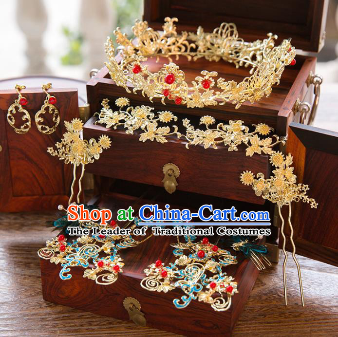 Aisan Chinese Handmade Classical Hair Accessories Hanfu Cloisonne Step Shake Complete Set, China Xiuhe Suit Hairpins Royal Crown Wedding Headwear for Women