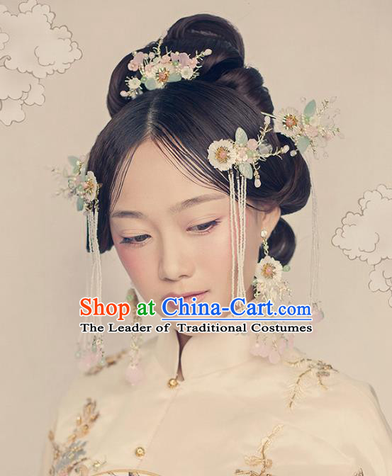 Aisan Chinese Handmade Classical Hair Accessories Hanfu Hair Comb, China Xiuhe Suit Hairpins Wedding Headwear Complete Set for Women