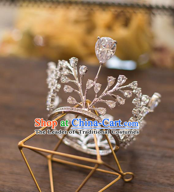 Top Grade Handmade Classical Hair Accessories Baroque Style Princess Crystal Royal Crown Headwear for Women