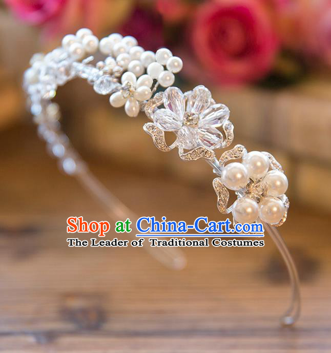 Top Grade Handmade Classical Hair Accessories Baroque Style Princess Crystal Pearls Hair Clasp Headwear for Women