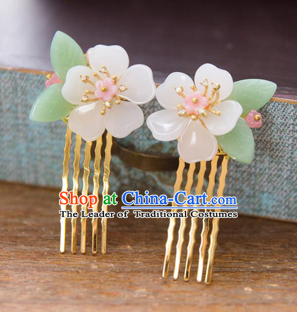 Chinese Handmade Classical Hair Accessories Hanfu Flower Hair Comb, China Xiuhe Suit Hairpins Wedding Headwear for Women