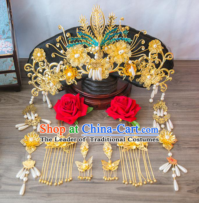 Aisan Chinese Handmade Classical Hair Accessories Hanfu Qing Dynasty Phoenix Coronet, China Manchu Princess Hairpins Headwear Complete Set for Women