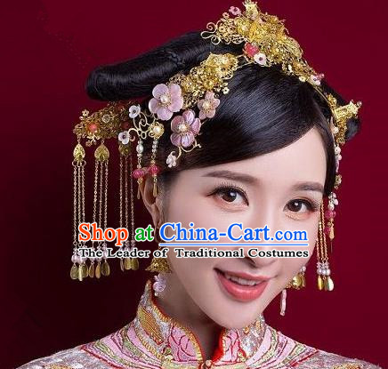 Chinese Handmade Classical Ancient Costume Hair Accessories Hanfu Phoenix Coronet, China Bride Xiuhe Suit Hairpins Headwear Complete Set for Women