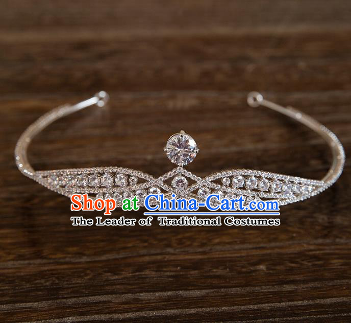 Top Grade Handmade Classical Hair Accessories Baroque Style Princess Crystal Zircon Royal Crown Headwear for Women