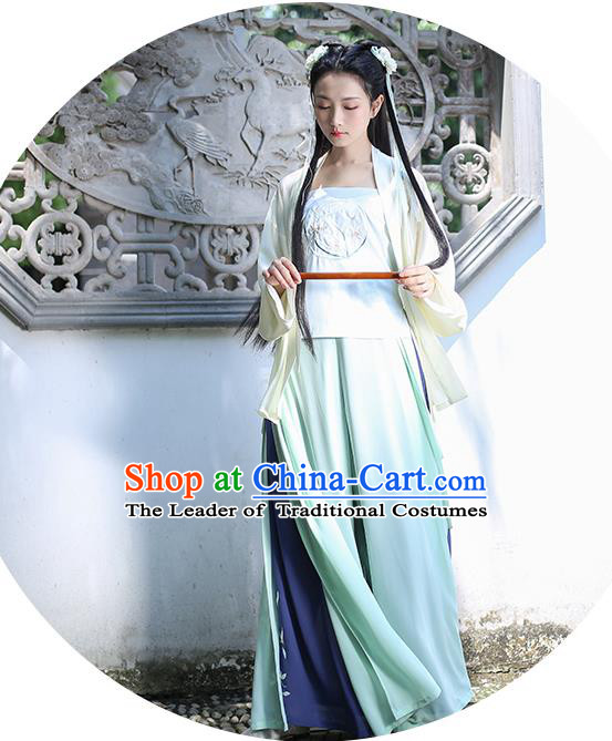 Traditional Asian Chinese Hanfu Swordswoman Costumes Song Dynasty Young Lady Embroidered Yellow Blouse and Green Pants Complete Set