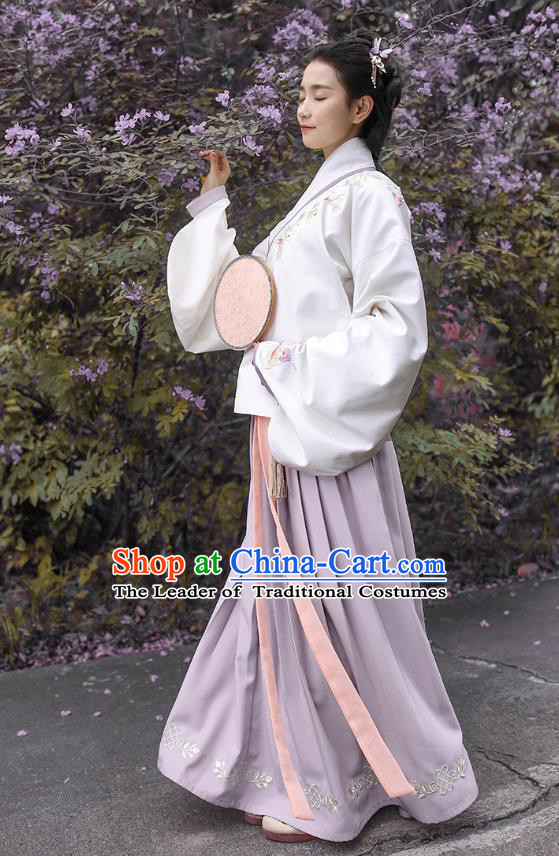 Traditional Asian Chinese Hanfu Costumes Ming Dynasty Princess Embroidered Slant Opening White Blouse and Purple Skirts Complete Set