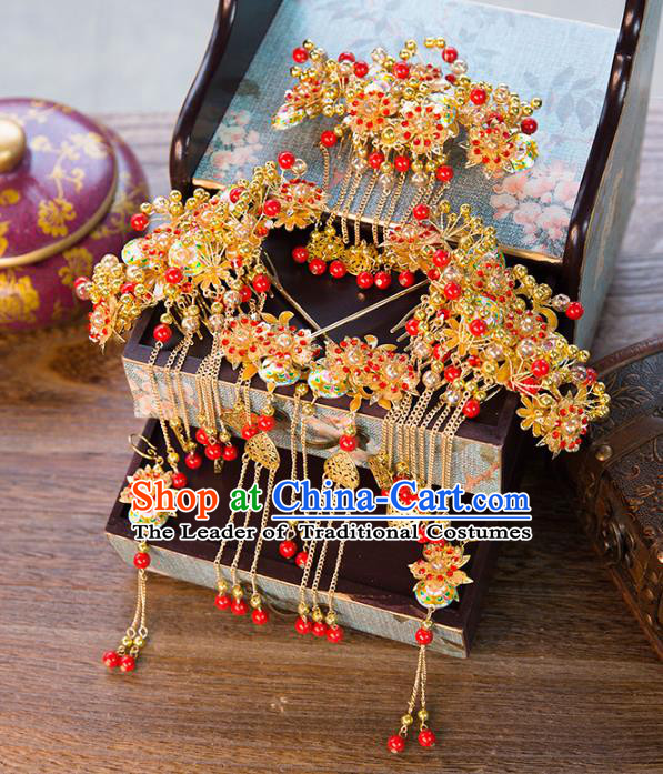 Chinese Handmade Classical Ancient Costume Red Beads Hair Accessories Complete Set, China Bride Xiuhe Suit Hairpins Phoenix Coronet Headwear for Women
