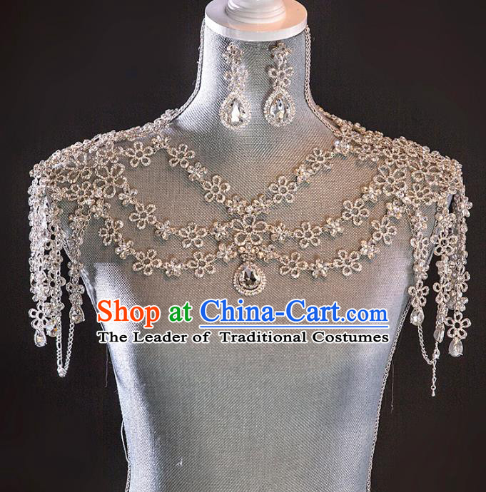 Top Grade Handmade Classical Jewelry Accessories Baroque Style Crystal Cappa, Palace Queen Shoulder Chain and Earrings Complete Se