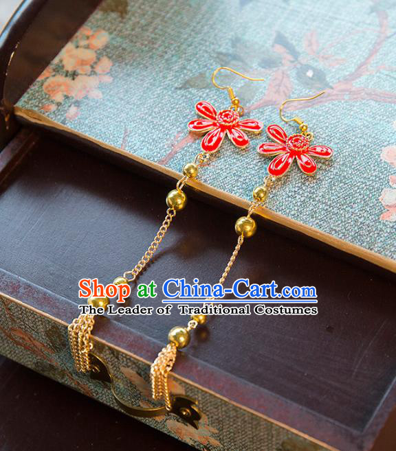Top Grade Handmade Classical Xiuhe Suit Accessories Earrings, Baroque Style Princess Red Eardrop Headwear for Women
