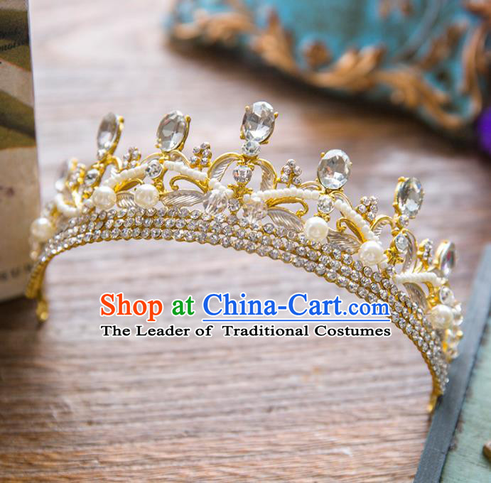 Top Grade Handmade Classical Hair Accessories Baroque Style Princess Crystal Royal Crown Pearls Hair Clasp Headwear for Women