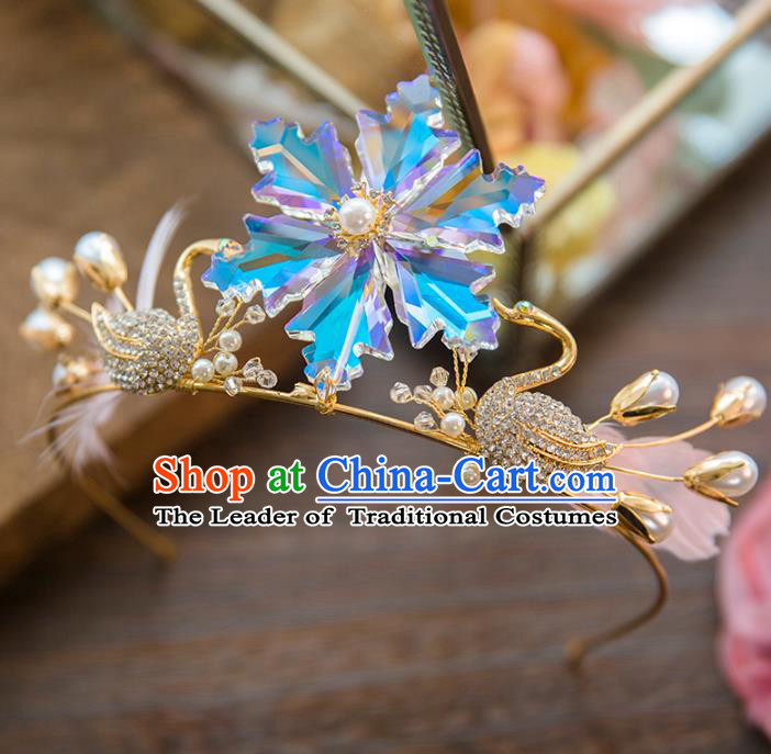Top Grade Handmade Classical Hair Accessories Baroque Style Princess Pink Feather Swan Hair Clasp Headwear for Women