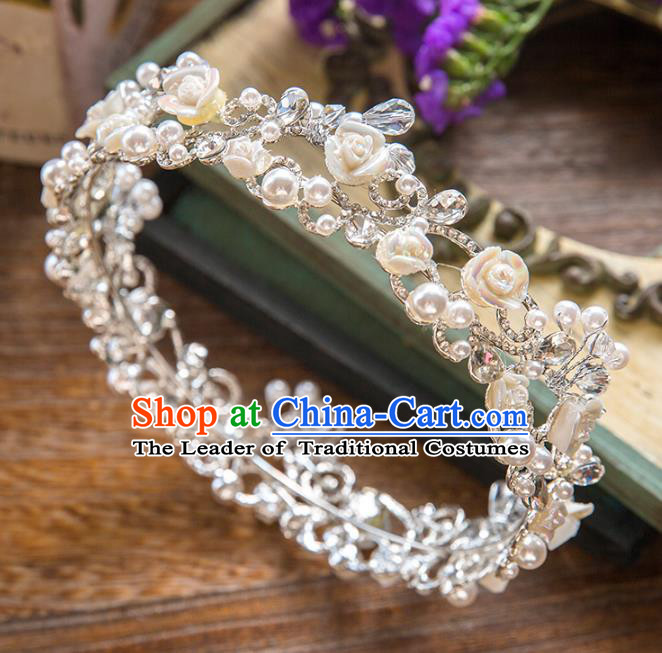 Top Grade Handmade Classical Hair Accessories, Baroque Style Princess Crystal Pearls Royal Crown Round Hair Clasp Headwear for Women