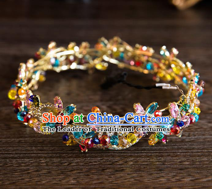 Top Grade Handmade Classical Hair Accessories, Baroque Style Princess Colorful Crystal Royal Crown Round Hair Clasp Headwear for Women