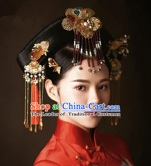 Chinese Handmade Classical Hair Accessories Bride Jade Phoenix Coronet Complete Set, China Xiuhe Suit Hairpins Wedding Headwear for Women