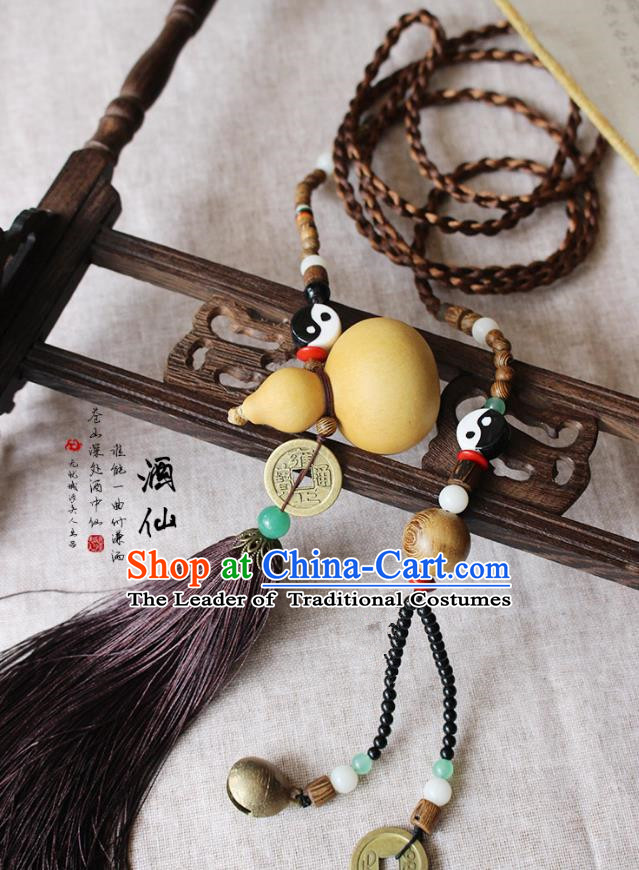 Chinese Handmade Classical Accessories Tassel Palace Taeniasis, China Hanfu Calabash Waist Pendant Headwear for Women