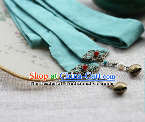 Chinese Handmade Classical Hair Accessories Hanfu Headband, China Ancient Blue Hair Clasp Headwear for Women for Men