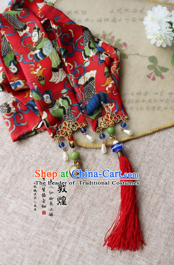 Chinese Handmade Classical Hair Accessories Red Hanfu Headband, China Xiuhe Suit Hair Clasp Headwear for Women