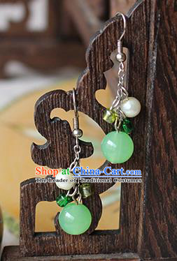 Chinese Handmade Classical Accessories Hanfu Green Bead Tassel Earrings, China Xiuhe Suit Wedding Eardrop for Women