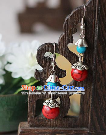 Chinese Handmade Classical Accessories Hanfu Red Tassel Earrings, China Xiuhe Suit Wedding Eardrop for Women