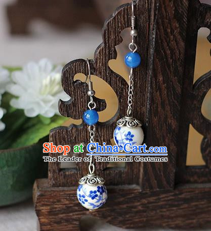 Chinese Handmade Classical Accessories Hanfu Blue and White Porcelain Tassel Earrings, China Xiuhe Suit Wedding Blue Bead Eardrop for Women
