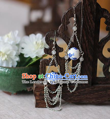 Chinese Handmade Classical Accessories Hanfu Blue and White Porcelain Earrings, China Xiuhe Suit Wedding Tassel Eardrop for Women