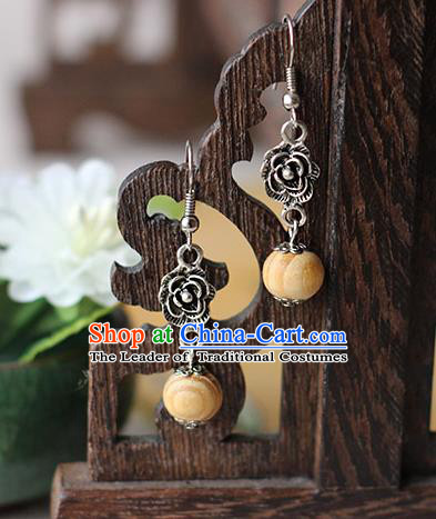 Chinese Handmade Classical Accessories Hanfu Earrings, China Xiuhe Suit Wedding Wood Bead Tassel Eardrop for Women
