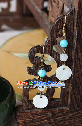 Chinese Handmade Classical Accessories Hanfu Earrings, China Xiuhe Suit Wedding Shell Tassel Eardrop for Women
