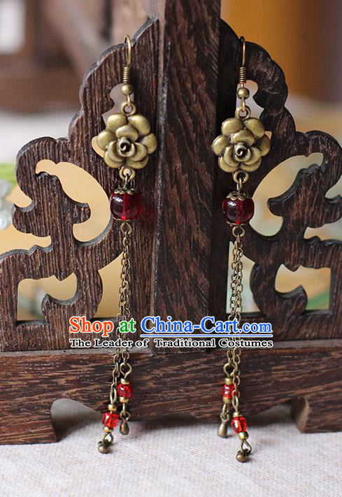 Chinese Handmade Classical Accessories Hanfu Earrings, China Xiuhe Suit Wedding Red Beads Rose Tassel Eardrop for Women