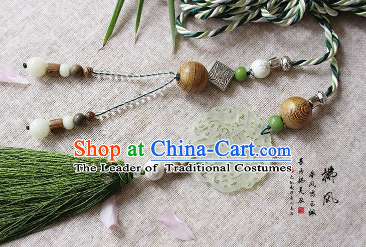 Chinese Handmade Classical Accessories Blue and White Porcelain Tassel Palace Taeniasis, China Hanfu Waist Jade Pendant Headwear for Women for Men