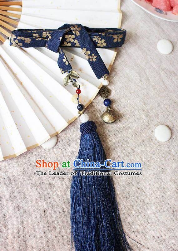 Chinese Handmade Classical Accessories Hanfu Blue Silk Belt, China Ancient Hanfu Waistband for Women for Men