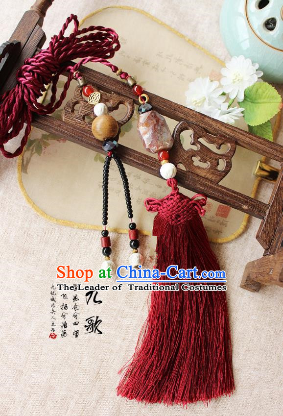 Chinese Handmade Classical Accessories Agate Tassel Palace Taeniasis, China Hanfu Waist Pendant Headwear for Women for Men