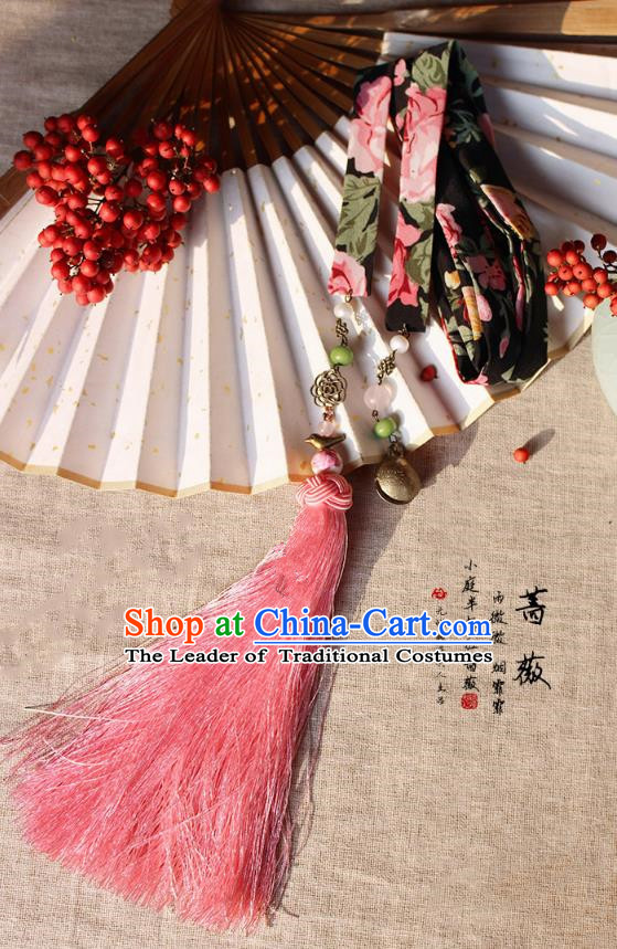 Chinese Handmade Classical Accessories Hanfu Silk Belt, China Ancient Hanfu Pink Tassel Waistband for Women