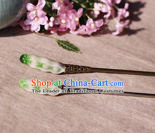 Chinese Handmade Classical Accessories Green Ceramics Hairpin, China Hanfu Hair Clip for Women
