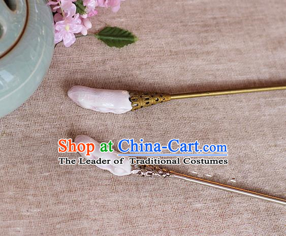 Chinese Handmade Classical Accessories Pink Ceramics Hairpin, China Hanfu Hair Clip for Women