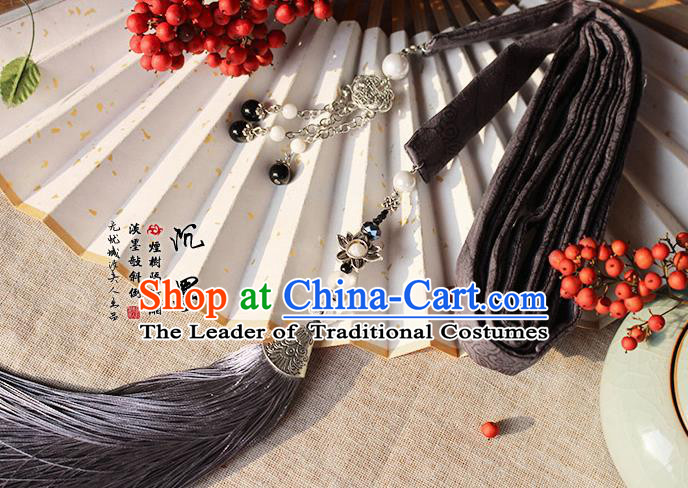 Chinese Handmade Classical Accessories Hanfu Silk Belt, China Ancient Hanfu Black Tassel Waistband for Women for Men