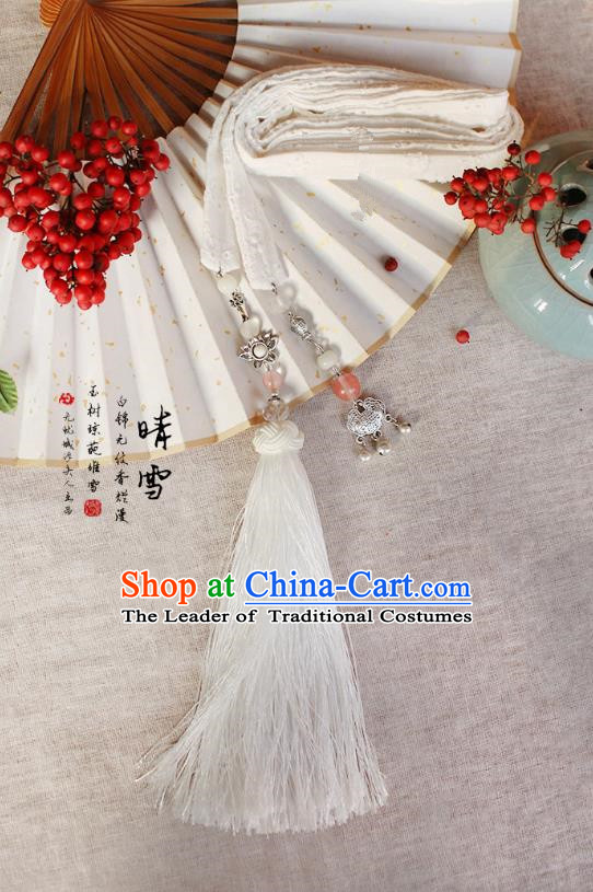 Chinese Handmade Classical Accessories Hanfu White Silk Belt, China Ancient Hanfu Bells Tassel Waistband for Women for Men