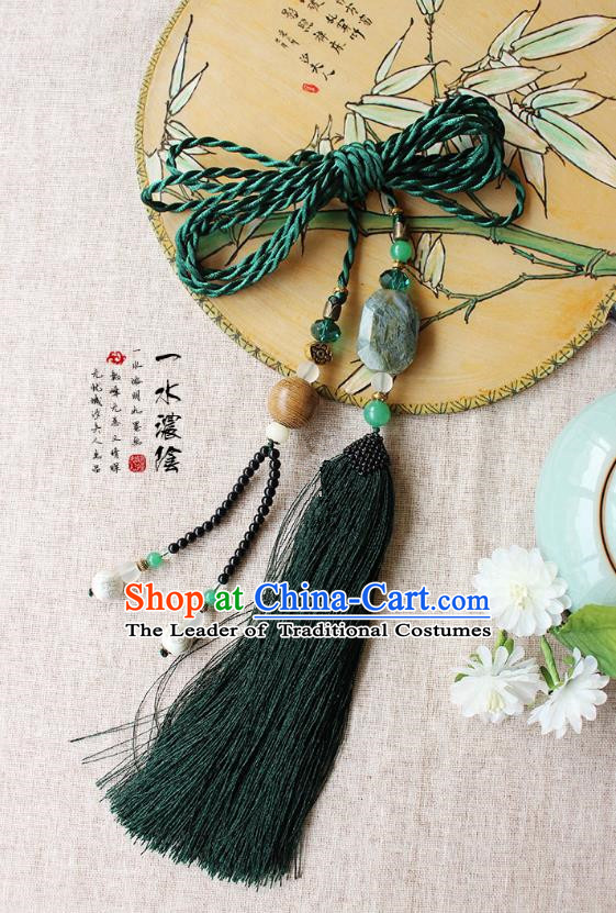 Chinese Handmade Classical Accessories Hanfu Green Agate Tassel Belt, China Ancient Hanfu Bells Tassel Waistband for Women for Men