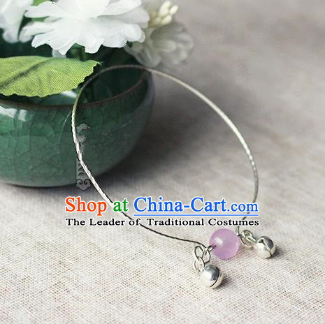 Chinese Handmade Classical Accessories Hanfu Purple Bead Tassel Bracelet, China Ancient Bells Bangle for Women