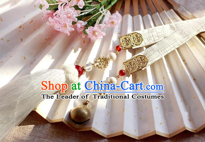 Chinese Handmade Classical Accessories Hanfu White Silk Belt, China Ancient Hanfu Tassel Waistband for Women