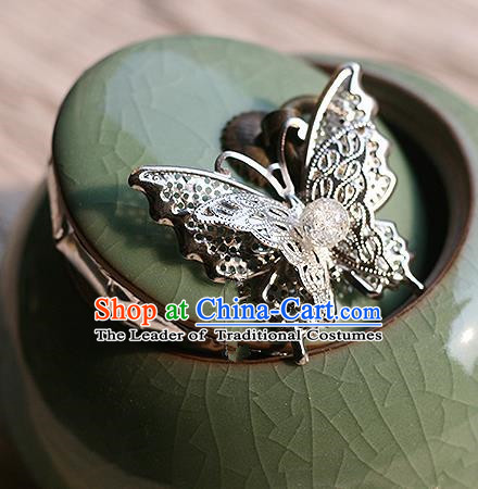 Chinese Handmade Classical Accessories Tassel Butterfly Brooch, China Hanfu Breastpin for Women
