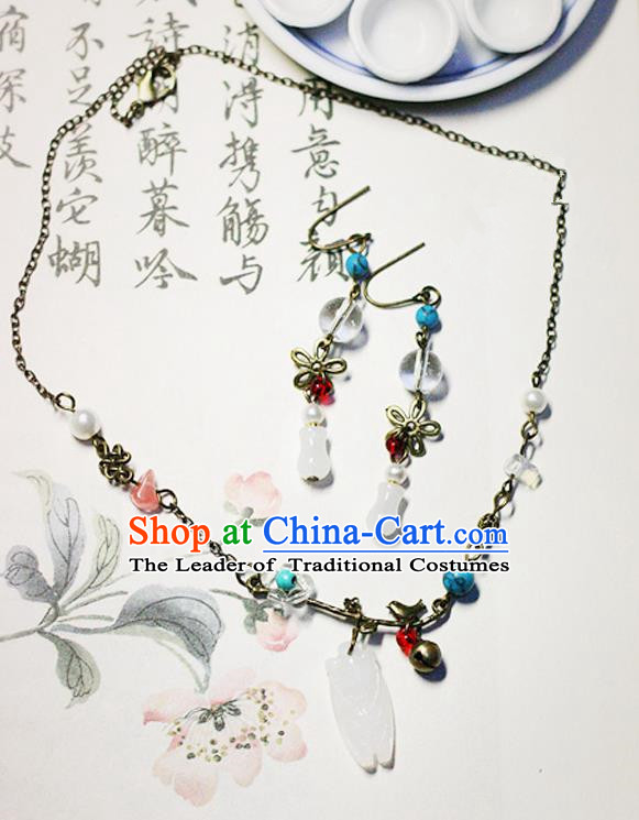 Chinese Handmade Classical Accessories Hanfu Necklace and Earrings for Women