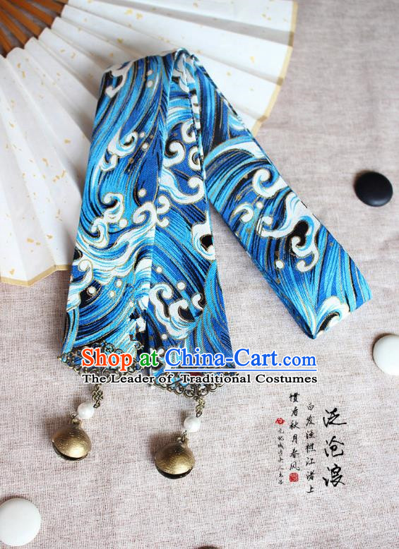 Chinese Handmade Classical Hair Accessories Hanfu Bells Headband, China Ancient Blue Hair Clasp Headwear for Women for Men