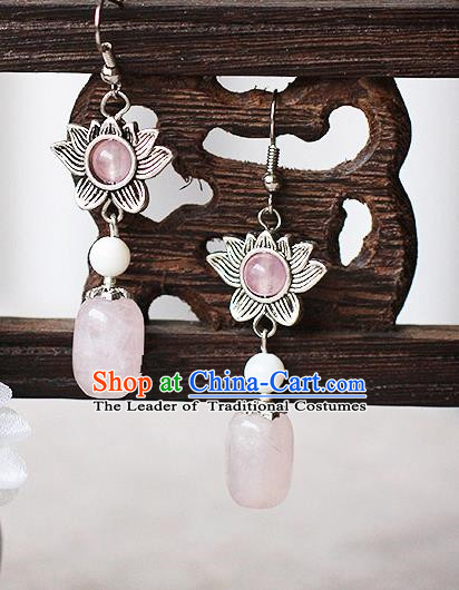 Chinese Handmade Classical Accessories Bride Earrings, China Xiuhe Suit Pink Bead Wedding Eardrop for Women