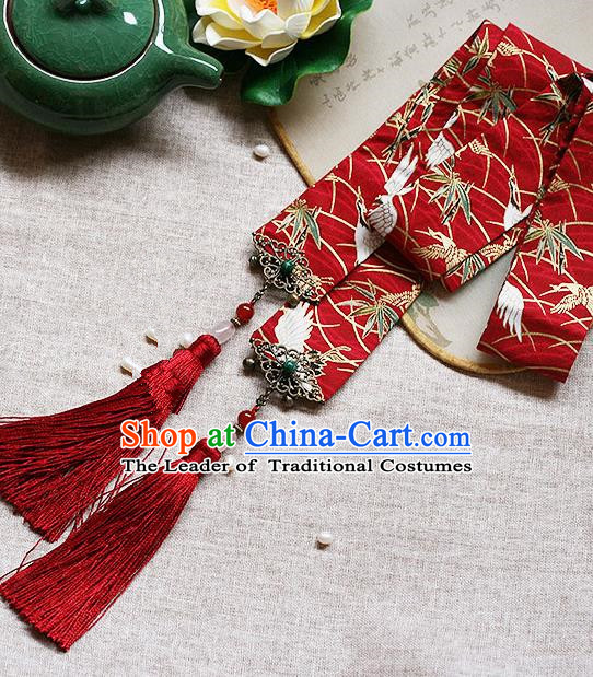 Chinese Handmade Classical Hair Accessories Hanfu Red Silk Headband, China Ancient Embroidery Hair Clasp Headwear for Women for Men