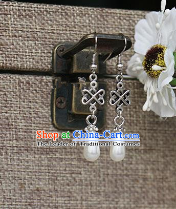 Chinese Handmade Classical Accessories Hanfu Pearls Earrings, China Xiuhe Suit Eardrop for Women