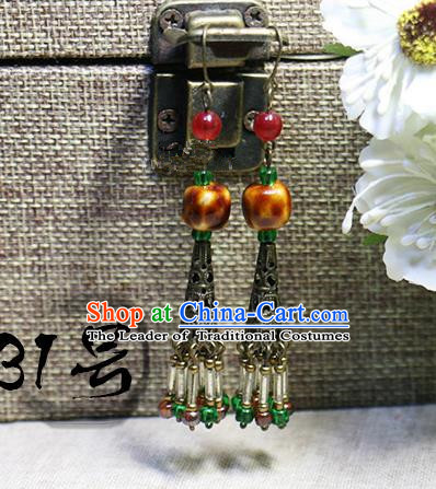 Chinese Handmade Classical Accessories Hanfu Orange Earrings, China Xiuhe Suit Tassel Eardrop for Women