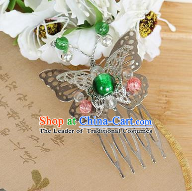 Chinese Handmade Classical Accessories Green Bead Butterfly Hair Comb, China Xiuhe Suit Hair Stick for Women